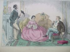 ANTIQUE PRINT C1800'S THE TWO STRINGS COLOUR STEEL ENGRAVING VICTORIAN ART
