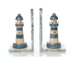 FAIRTRADE BLUE AND WHITE  WOODEN LIGHTHOUSES BOOKENDS  FREE POSTAGE  CM HIGH