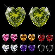 Sweet Love Heart Colorful Zircon Ear Stud Earrings Womens 10Kt White Gold Filled