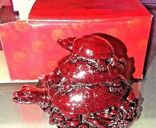 Triple Turtle Red Boxed - Decorative Collectible - Wealth Feng Shui Luck Statue