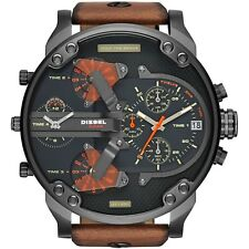 *NEW* DIESEL DZ7332 MR DADDY 2.0 57MM WATCH 4 TIME ZONES BROWN STRAP GIFT UK