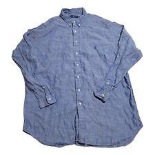 New listing Polo Ralph Lauren Linen Button Up Long Sleeve Shirt Blue Size 2XLT