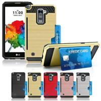 For LG Stylo 2 Plus/MS550 Shockproof Armor Brushed TPU Box Case Card Slot Cover