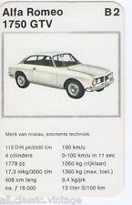 CARS - B2 - Alfa Romeo 1750 GTV Kwartet card/Quartet card/Spielkarte