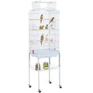 Vogelkäfig Vogelbauer Wellensittich Kanarien mit Freisitz und Zubebör m. Ständer