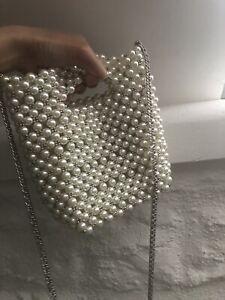 NEW ZARA White Pearl Beads Chain Crossbody Bag Trinny Woodall Gigi Party