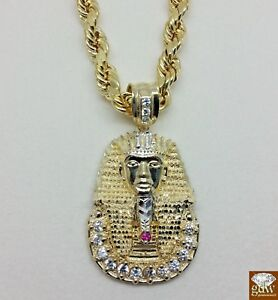 Real 10K, 24 Inches Rope Chain with  1.5 Inches long Pharaoh Head Pendant #A4B9