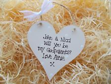 Shabby Chic Style Personalised Godparents Heart Plaque Gift Keepsake