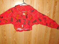Vintage Banjo Dallas Texas Western Rodeo Half Shirt Small Mock Neck Red woman