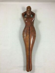 Vintage French carved wood leg girl collector nuts cracker Hazelnuts