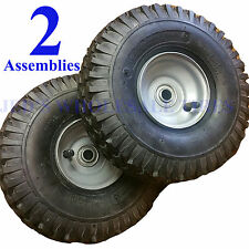 TWO 410-4 350-4 4.10/3.50-4 410/350-4 Stud Tire Rim Wheel Assembly 4ply 5/8 bear