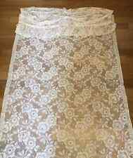 Curtain with Valance Lace Panel Flowers Floral 45W 83L Cottage Off White Vintage