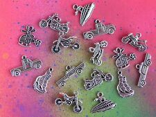 16 Vehicle Mixed Lot Charm Pendants Motorcycle Helicopter Boat Car Truck Motor