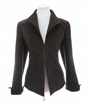 Carlisle Sz 8 Angora Wool Leopard Print Fleece Jacket Blazer Brown Womens