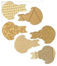 """New listing Lot of 6 Fat Cat Shaped Fabric Appliques Silhouettes Gold Tan - 5 1/4"""" X 3 3/4"""""""