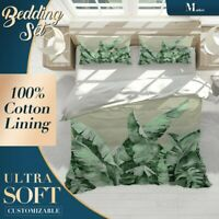 Banana Leaves Floral Green Quilt Cover Sets with Zipper And Pillowcase