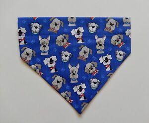 CUTE DOG FACES ON ROYAL BLUE DOG SCARF/BANDANA--S, M, L