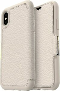 Apple Iphone X XS otterbox Strada Series wallet book card slot cover case white