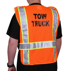 "Orange ""Tow Truck"" Flashing LED Class 2 Safety Vest"