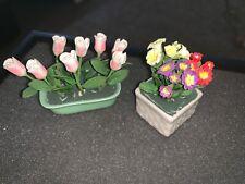 Antique Doll house Mini Porcelain Flower Planters 2 Tulips Pottery Magical Art !
