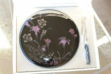 Mikasa Color trend Cheese Plate and Knife Set in Box Puprle Flowers Japan Black