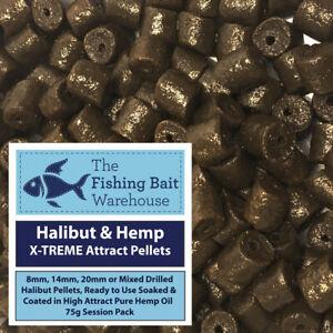 Halibut & Hemp X-TREME Attract Pellets 75g - Pre Drilled 8mm, 14mm, 20mm, Mixed