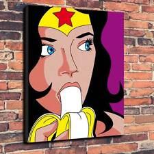 "Arte Pop Mujer Maravilla de lona de plátano Caja Impresa A1.30""x20"" - Marco 30 mm profundo"