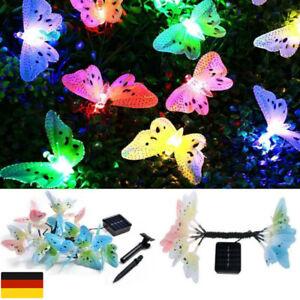12 LED Solar Lichterkette Außen Leuchte Schmetterlinge Beleuchtung Garten`DE