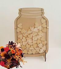 RUSTIC Mason Jar Wooden Frame Wedding Baptism Hen's Guest Book Acrylic dropbox