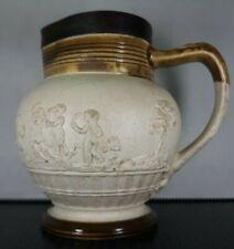Scarce Georgian Adams Stoneware Cherub Pitcher Jug Sterling Silver Rim 1797-1809