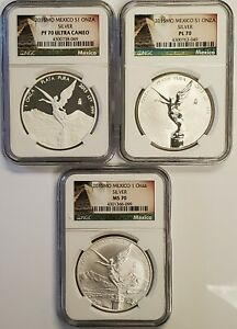 2015 Mexico 3 Pc Libertad Silver Coin Set NGC MS70, PF70 UC, Reverse Proof PL 70