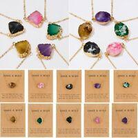 Geometric Natural Stone Resin Oval Pendant Necelace Choker Chain Women Jewelry