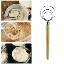 1Pcs Stainless Danish Dough Whisk with Wood Handle Kitchen Baking Tools Great