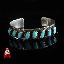 Vintage Navajo turquoise sterling silver bracelet .925 old pawn Native jewelry