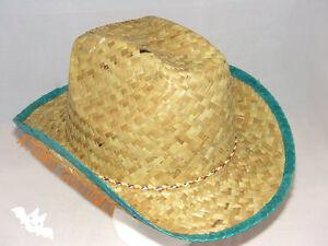 Straw Cowboy Hat Natural Grass Green Rim Adults Size Costume Fancy Dress NEW