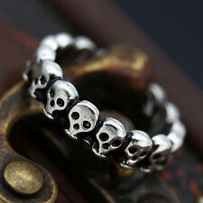 Gothic Lot Skull Vintage Black Biker Men's Punk Stainless Steel Ring US Size 8