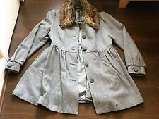 H&M Grey Ladies Winter Coat with Detachable Fake Fur Collar Size 14