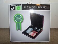 Casino Life Flask Gaming Set Funnel Flask Dice Case with Clasp. Fast Shipping!
