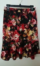 NWT NORDSTROM PLEIONE FLORAL TRUMPET HEM SKIRT BLACK RED SIZE S SMALL