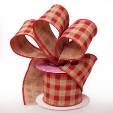 """NEW 2 1/2"""" RED, NATURAL COUNTRY LARGE GINGHAM WIRED RIBBON 5 YARDS OFF ROLL"""