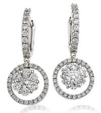 Diamond Drop Halo Style Earrings 1.20ct F VS in 18ct White Gold