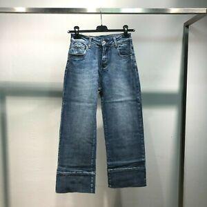 Jeans donna pantaloni pants vita alta palazzo cropped denim cotone casual e005