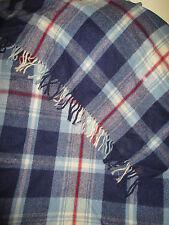 FARIBO  WOOL THROW BLANKET VINTAGE RED WHITE & BLUE PLAID 56 X 68