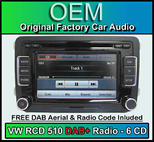 VW Tiguan DAB+ car stereo, RCD 510 DAB+ radio 6 CD changer, touchscreen SD card