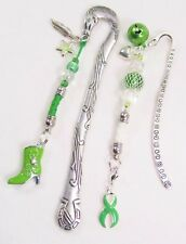 #5263- LIME GREEN AWARENESS RIBBON BOOT BELL CHARMS BEADED SILVER BOOKMARK SET