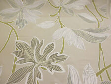 """Parchment"" Shade & Grey Leaves, Floral, Printed Taffeta Curtain Fabric"