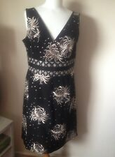 Monsoon UK 16 Ladies Black Embroidered Dress BNWT Sleeveless Shift Floral NEW