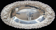 "Stieff ROSE Sterling Hand Chased Silver Bread Tray 13"" 14.09 OZT w/ MONO - B0577"