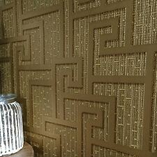 VERSACE PARVUS GREEK KEY LUXURY TEXTURED WALLPAPER - GOLD - 96236-1