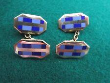 cufflinks blues enamel Art Deco Double Faced